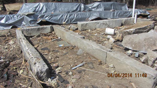 Granite Stone Foundation : Early th century granite foundation stone set